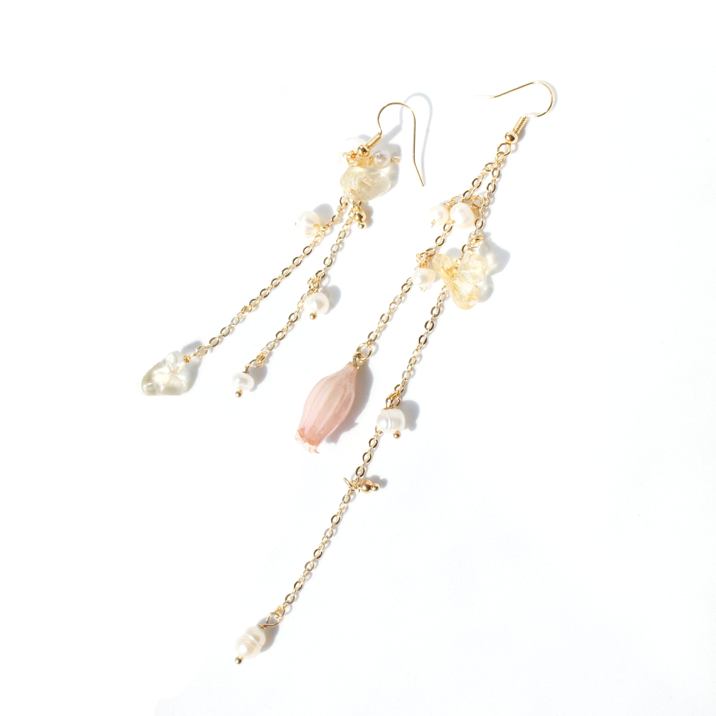 Lilian Pink Lily of the Valley Flower Asymmetrical Chain Drop Earrings