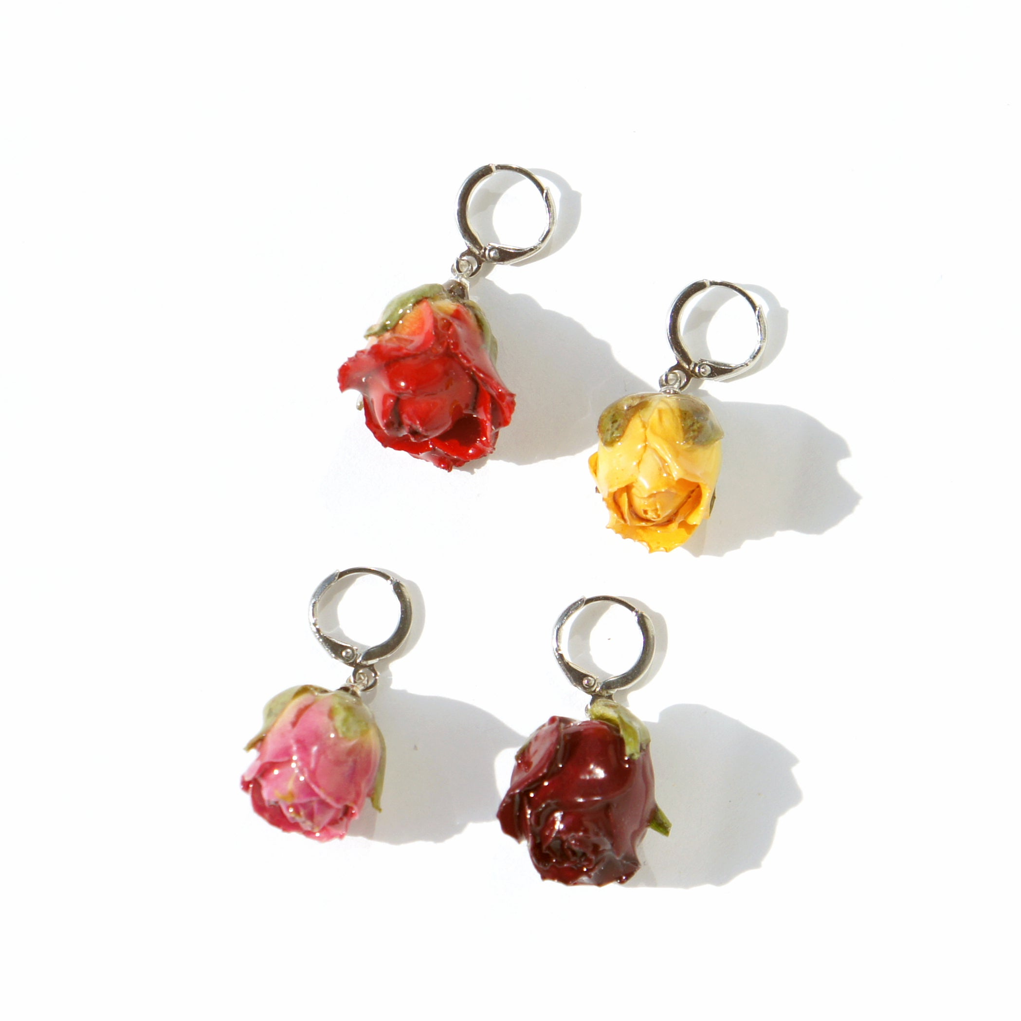 Garden Rosebud Single Huggie Hoop Earring