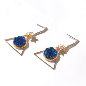 Starry Night Triangle Drop Earrings