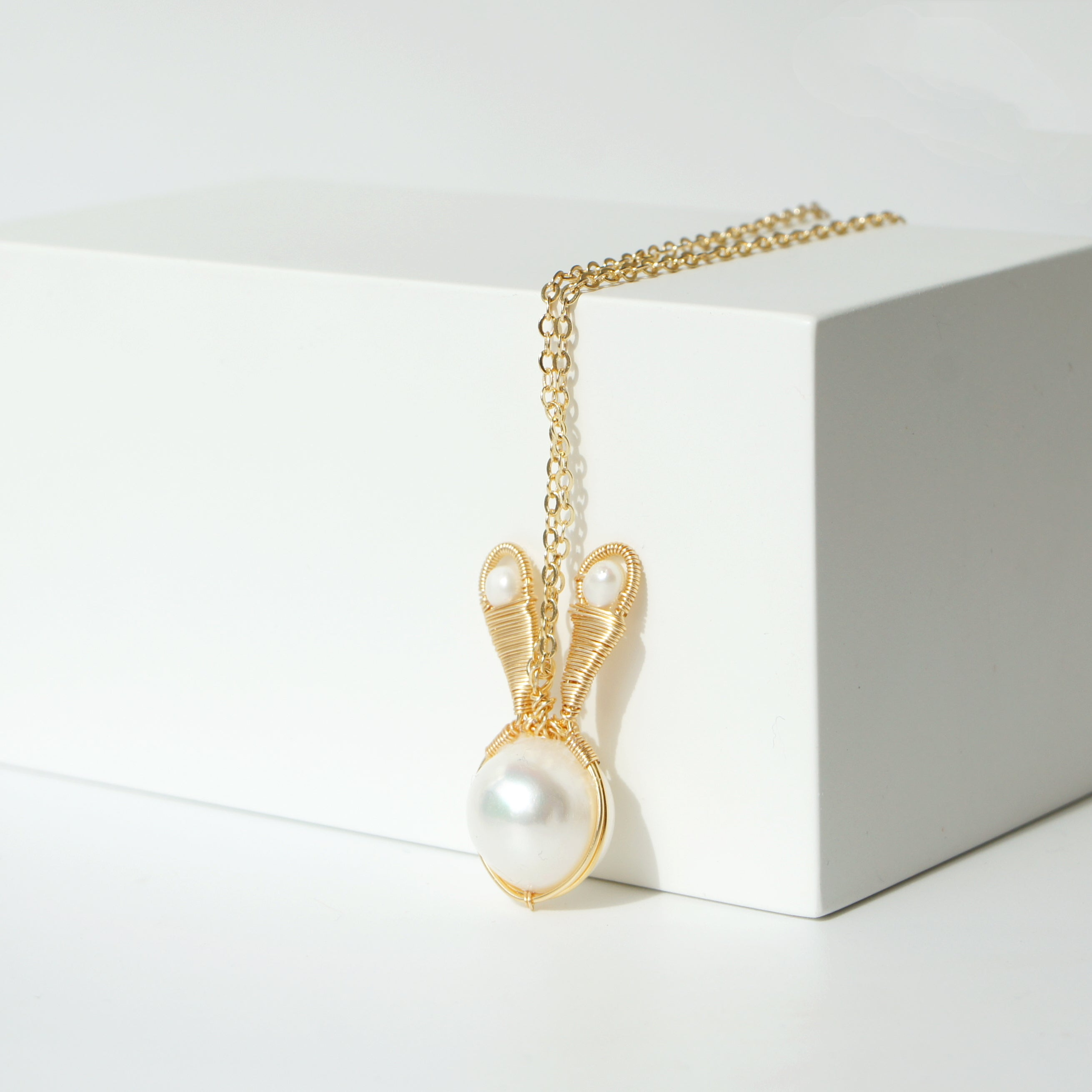 Pearl Bunny Necklace, 12mm Freshwater Pearl