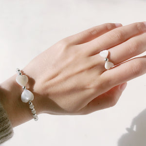 Amoretti Double Heart Ring, Mother of Pearl & Sterling Silver