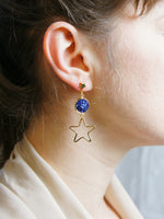 Load image into Gallery viewer, Starry Night Blue Druzy Quartz Asymmetric Earring