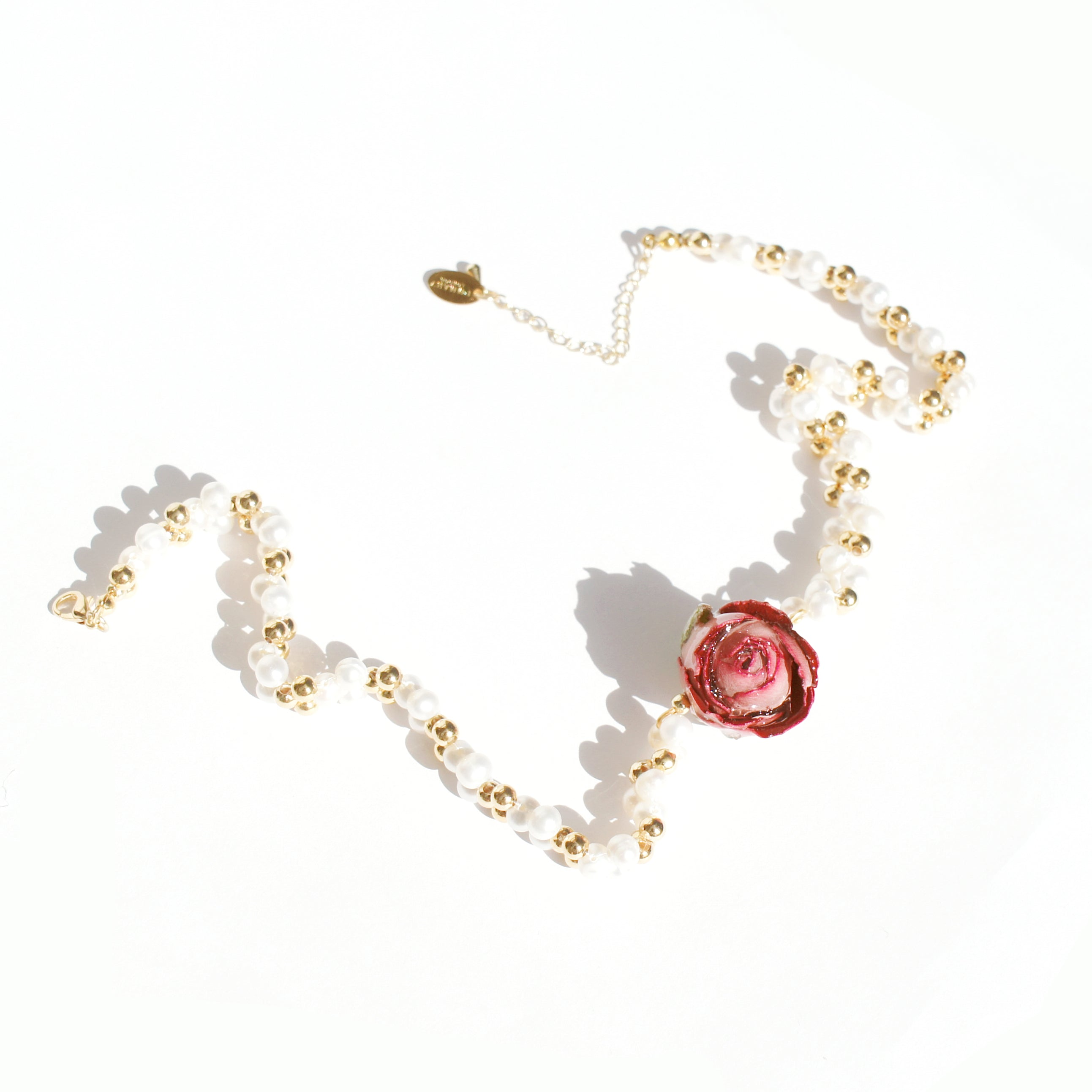 *REAL FLOWER* Bella Rosa Braided Freshwater Pearl Choker Necklace w-Pink Rose
