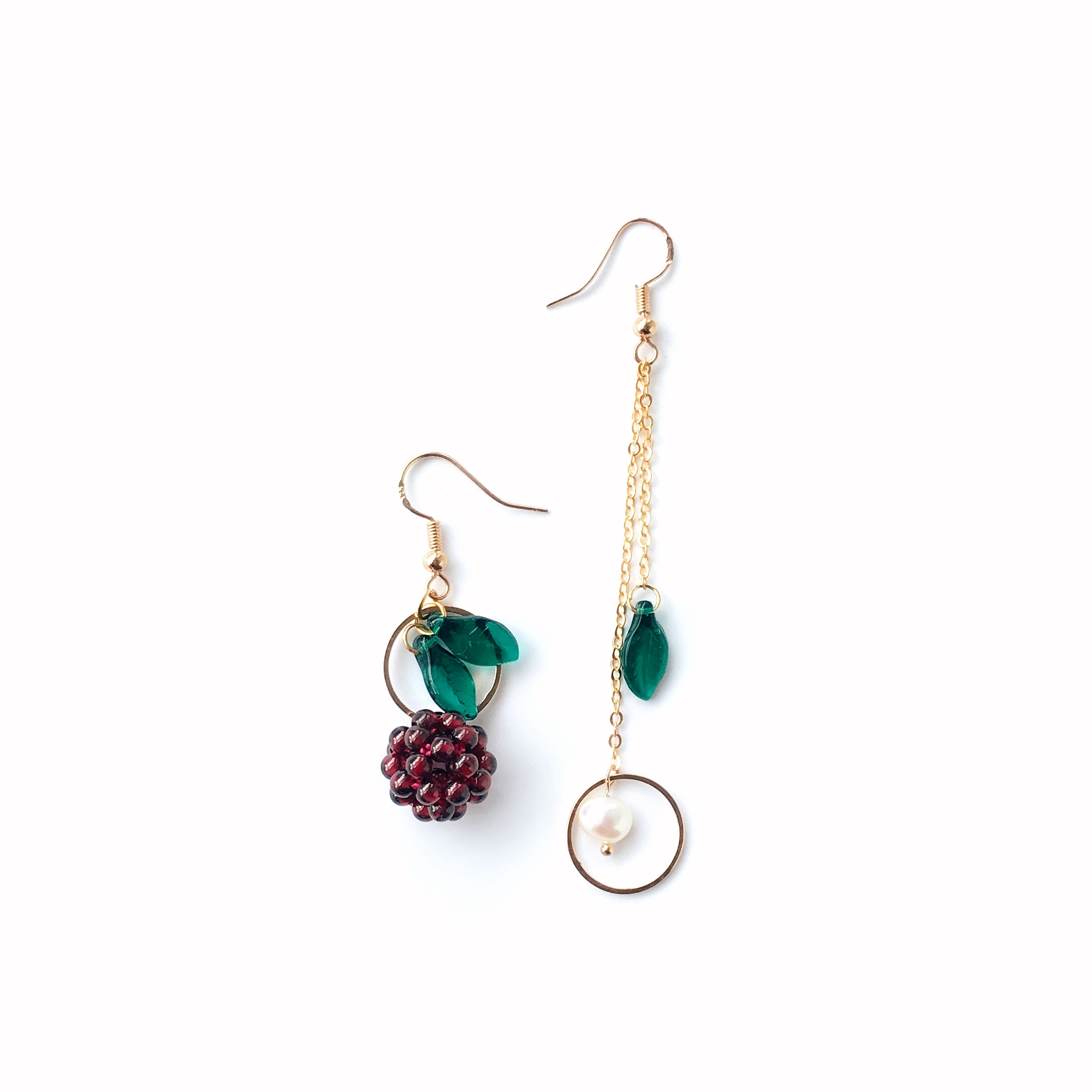 Kir Royale Asymmetrical Earrings w-freshwater pearl