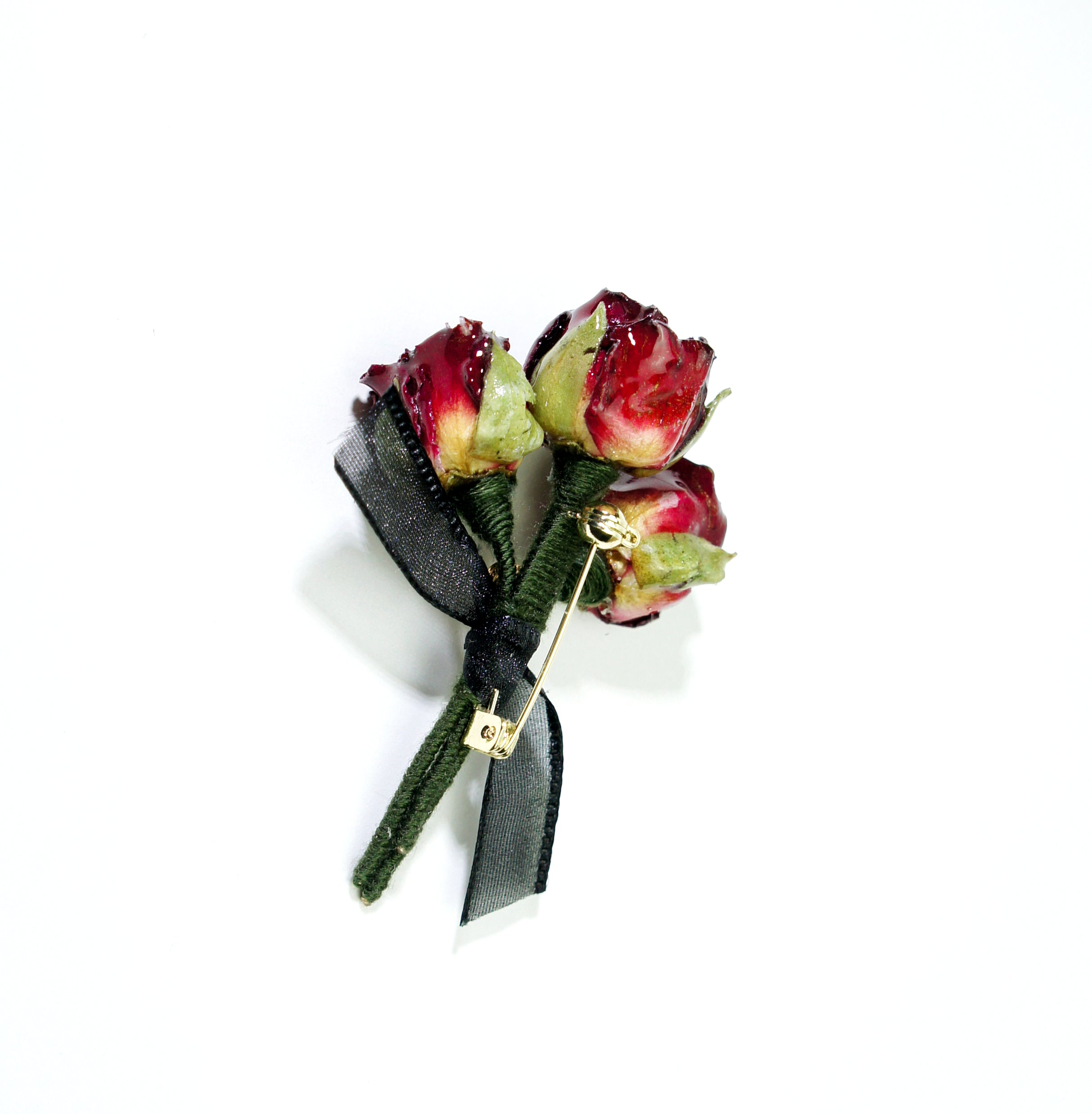 *REAL FLOWER* Grande Amore Red Rose Bouquet Brooch