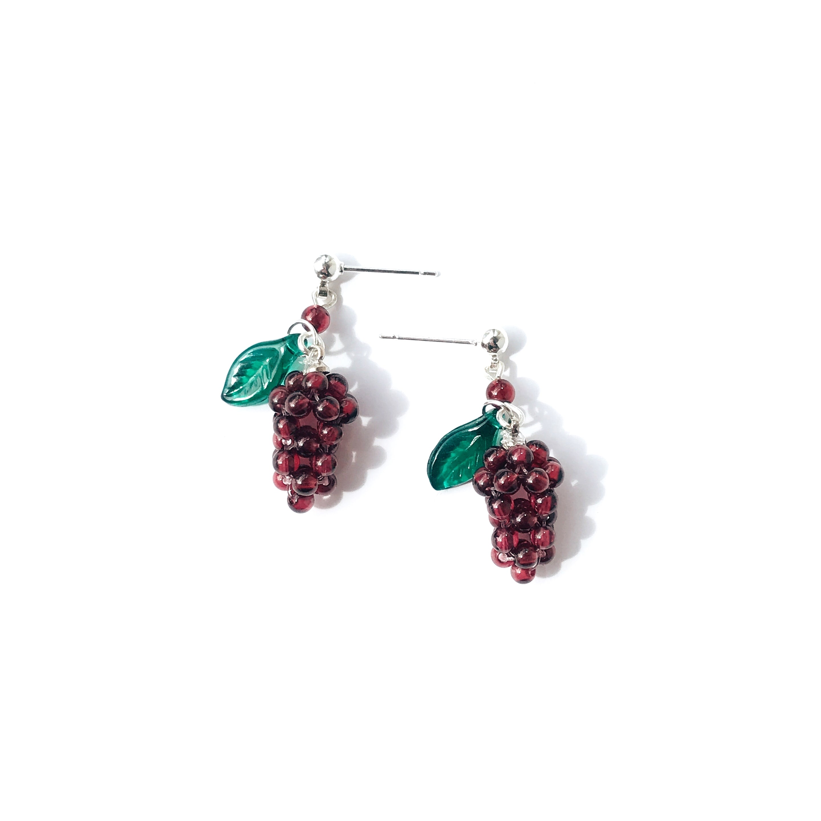Very Grapeful Beaded Grape Drop Earrings - Natural Red Garnet