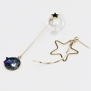 Starry Night 18k Gold Plated Asymmetric Earrings
