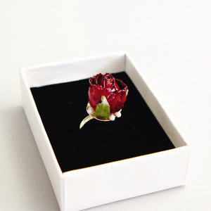 *REAL FLOWER*Grande Amore Rosebud Gold Plated Ring, Adjustable