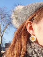Load image into Gallery viewer, *REAL FLOWER* White Daisy Drop Earrings w/18k Gold Vermeil Studs