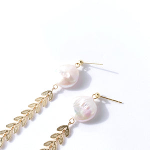Strings of Leaves Baroque Pearl Drop Earrings