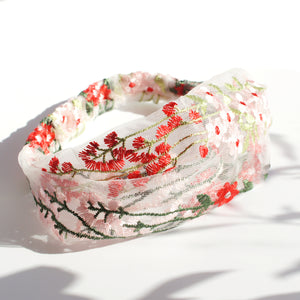 Garden Floral Embroidered Stretch Headband