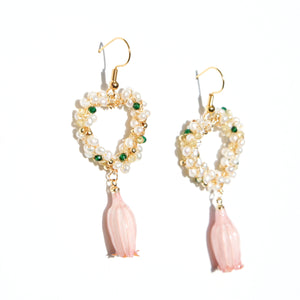 Lilian Freshwater Pearl & Gem Embellished Lily of the Valley Drop Earrings