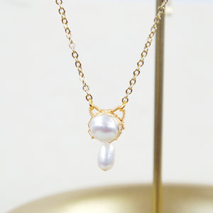 You're Purrfect 10mm Freshwater Pearl Cat Necklace