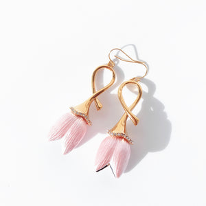 Lady Tulip Enamel and Gold Earrings