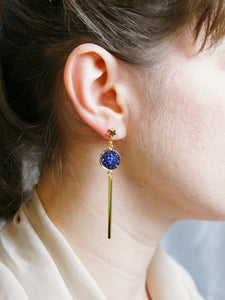 Starry Night Blue Druzy Quartz Asymmetric Earring