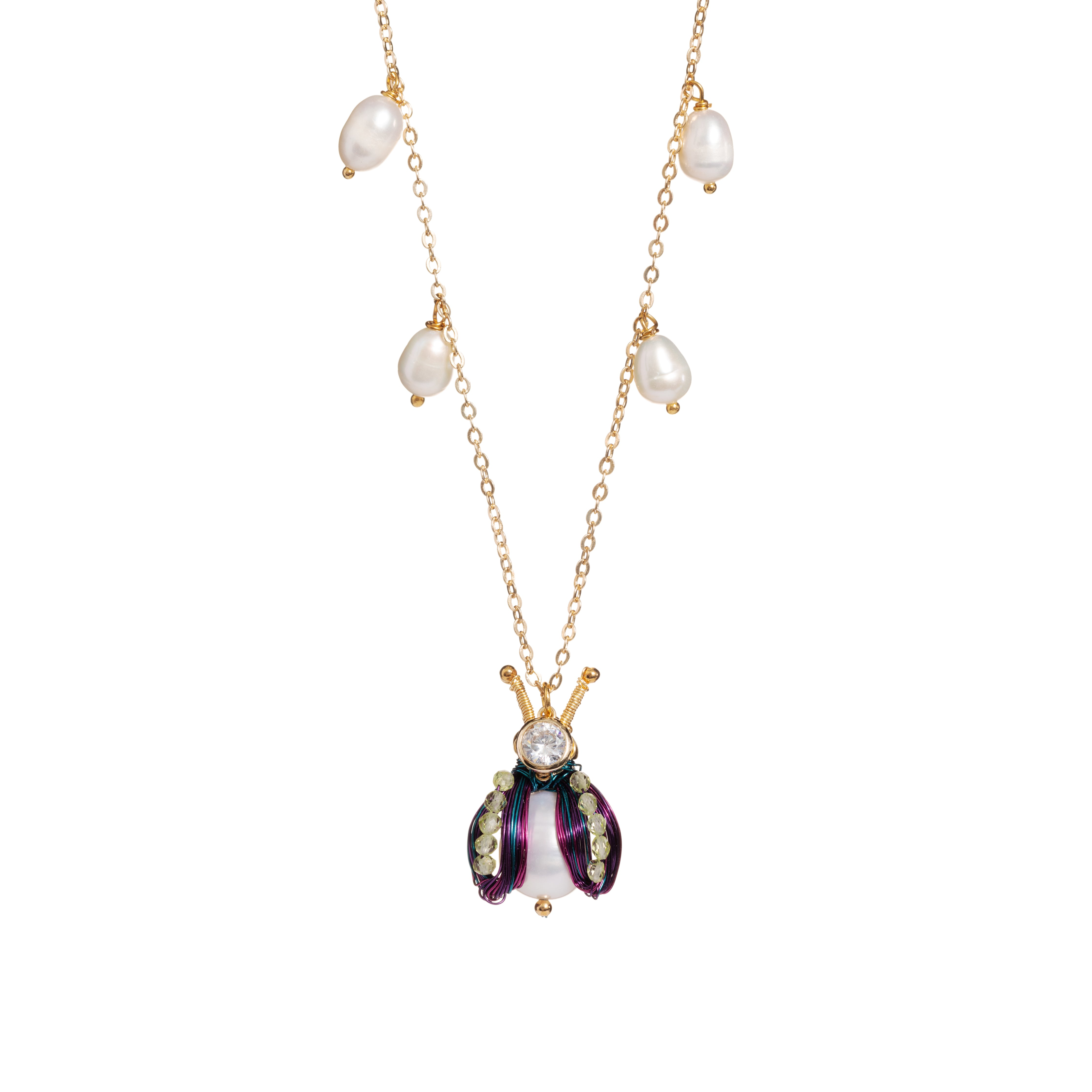 Bug Me Not! Freshwater Pearl Bug Necklace