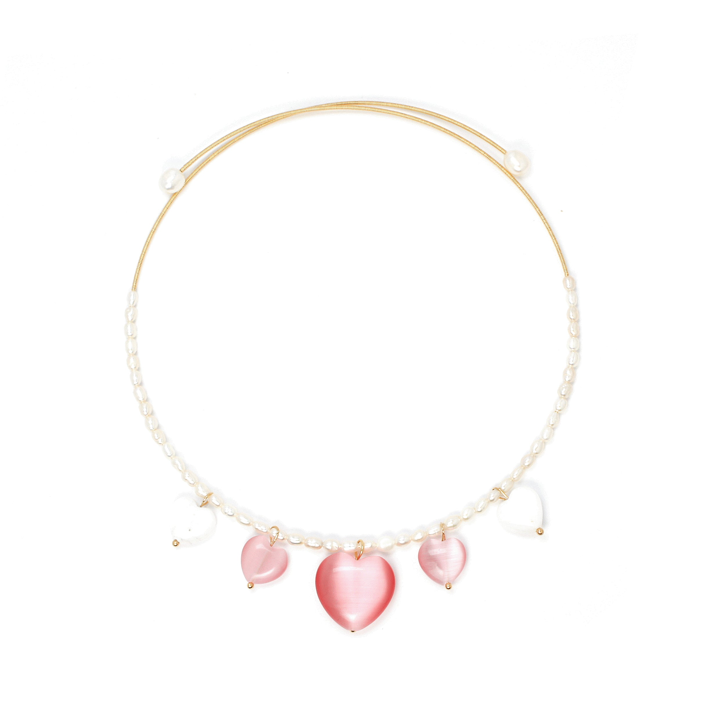 Serenity Freshwater Pearl Open Choker Necklace with Heart Charms