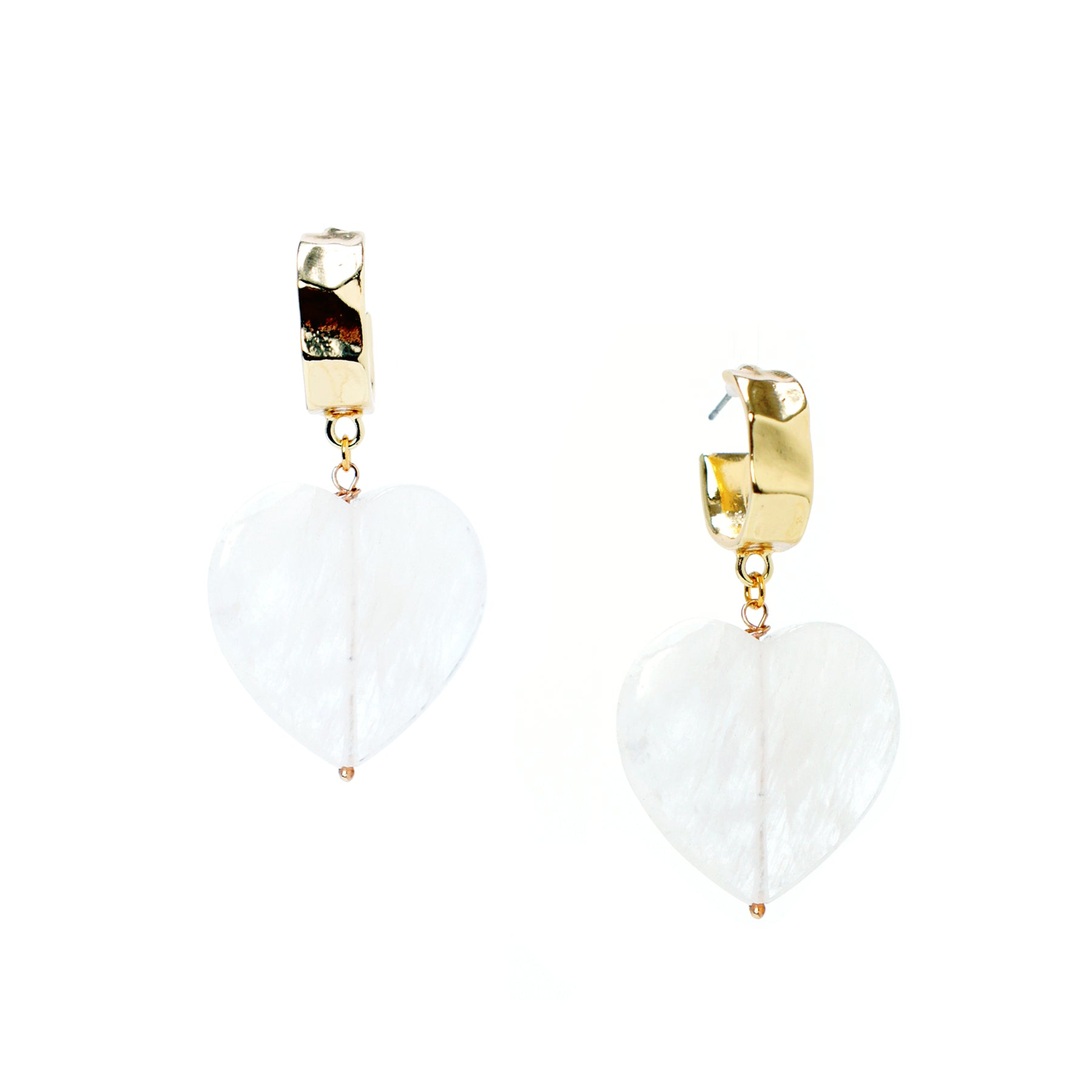 Mi Amor Heart Drop Hoop Earrings, Clear Quartz