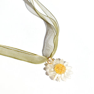 *REAL FLOWER* Reborn White Daisy Organza Choker/Necklace