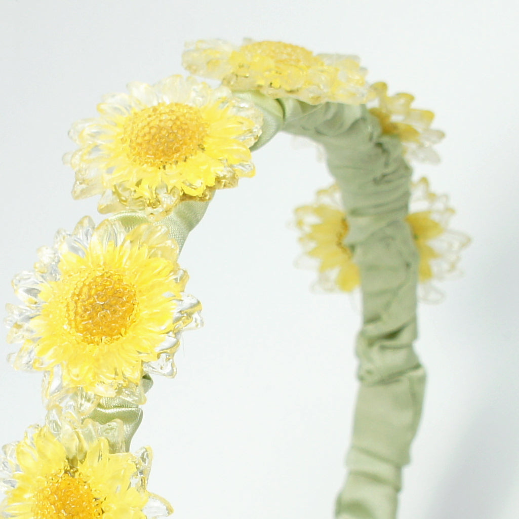 *REAL FLOWER* Flower Child Yellow Daisy and Green Ruched Stain Headband