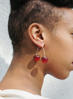 Load image into Gallery viewer, Double Cherry Drop Earrings (two-way)