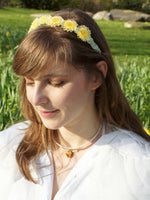 Load image into Gallery viewer, *REAL FLOWER* Flower Child Yellow Daisy and Green Ruched Stain Headband