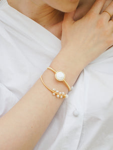 All Wrapped Up Freshwater Pearl Open Bangle/Bracelet