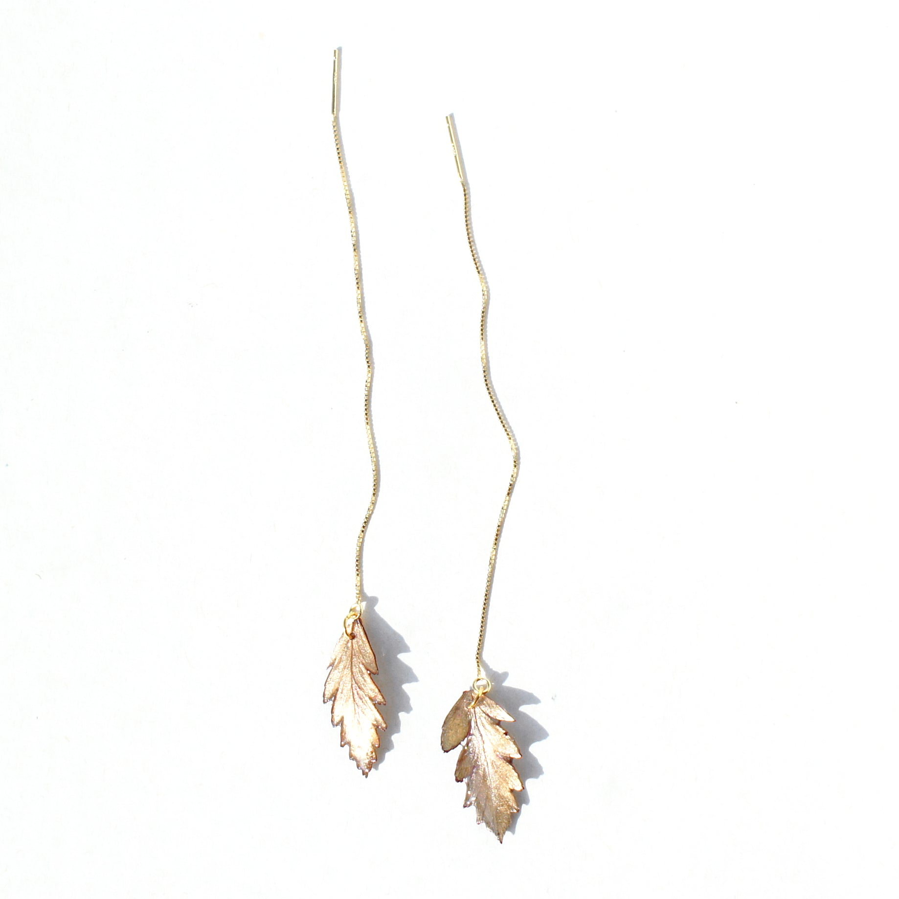 *REAL LEAVES* Be-leaf Leaf Drop 18k Gold Vermeil Threader Earring(s)