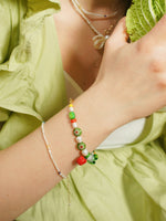 Load image into Gallery viewer, Garden Produce Freshwater Pearl and Glass Vegetable Bracelet