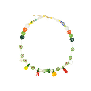 Garden Produce Glass Vegetable and Freshwater Pearl Necklace