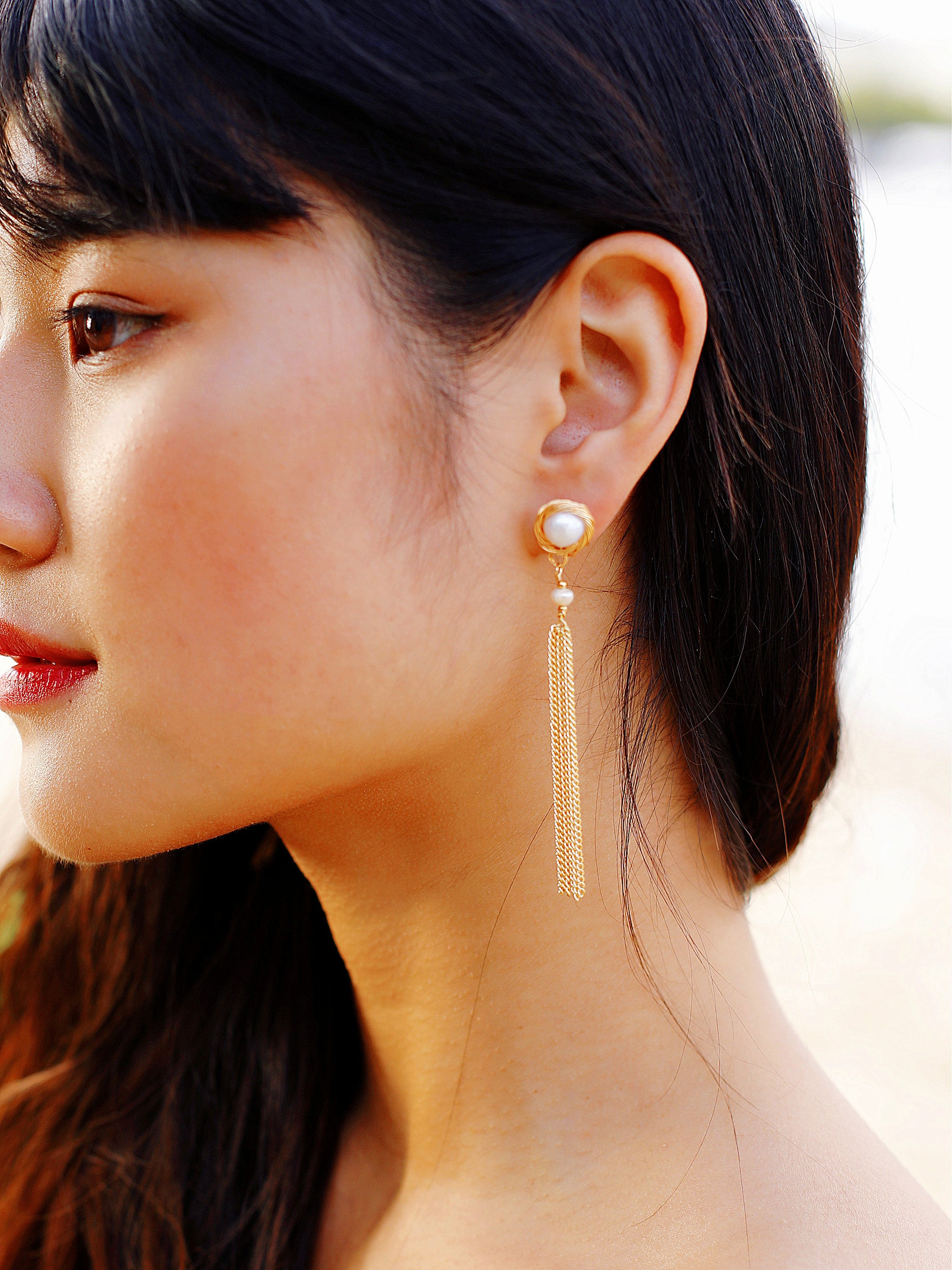 Golden Hour Freshwater Pearl Chain Tassel Drop Earrings