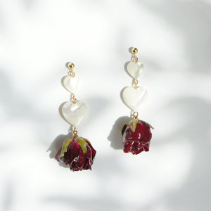 *REAL FLOWER* Grande Amore Rose Drop Earrings w/Mother of Pearl Hearts