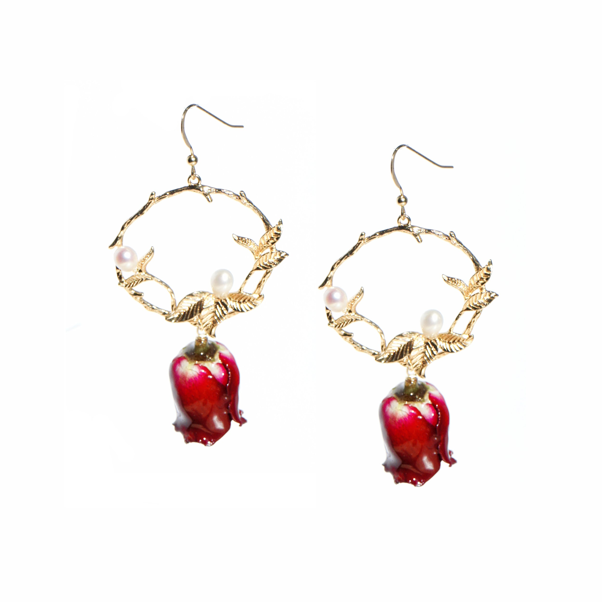 *REAL FLOWER* Grande Amore Rose Drop Earrings