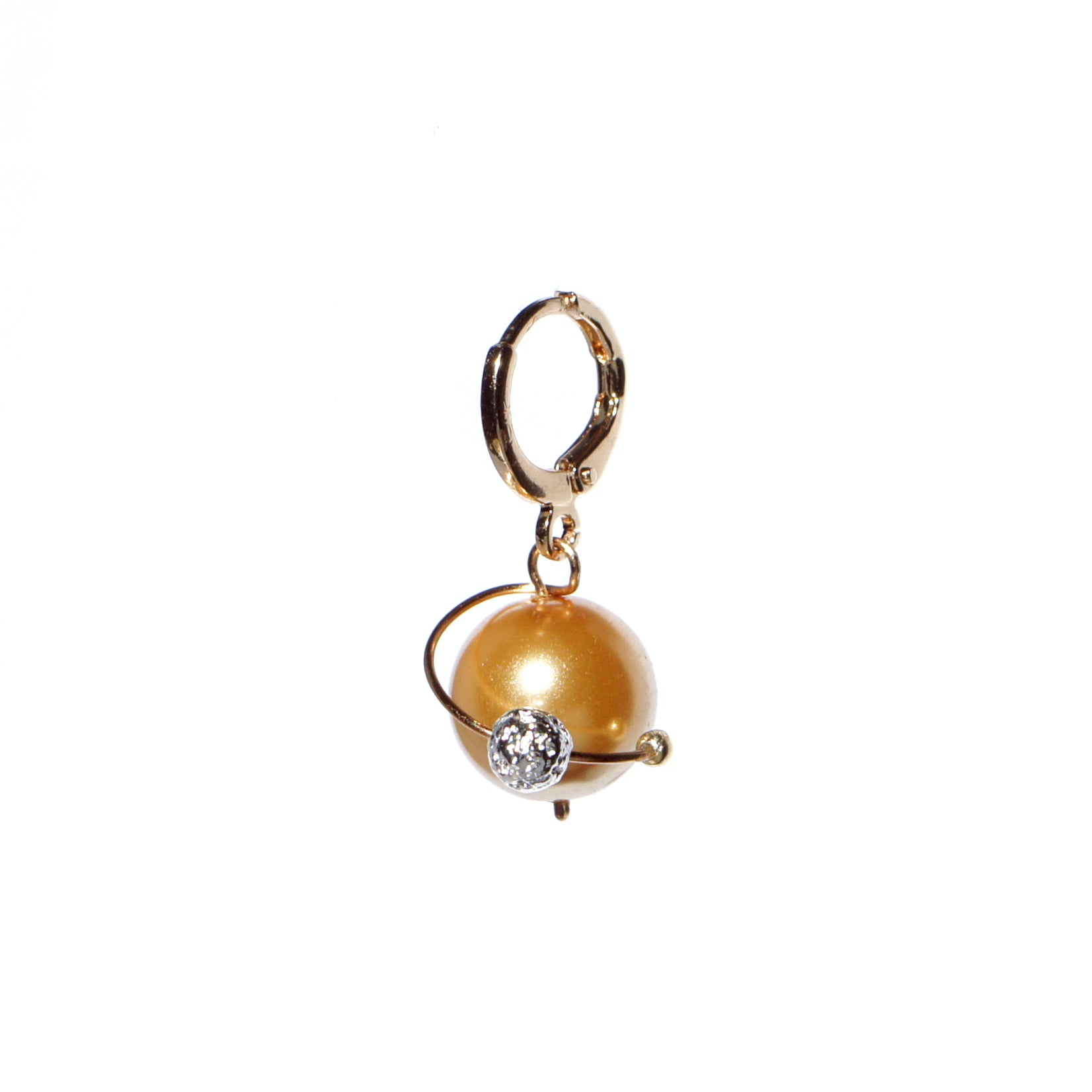 In My Orbit Pearl Drop Huggie Hoop Single Earring