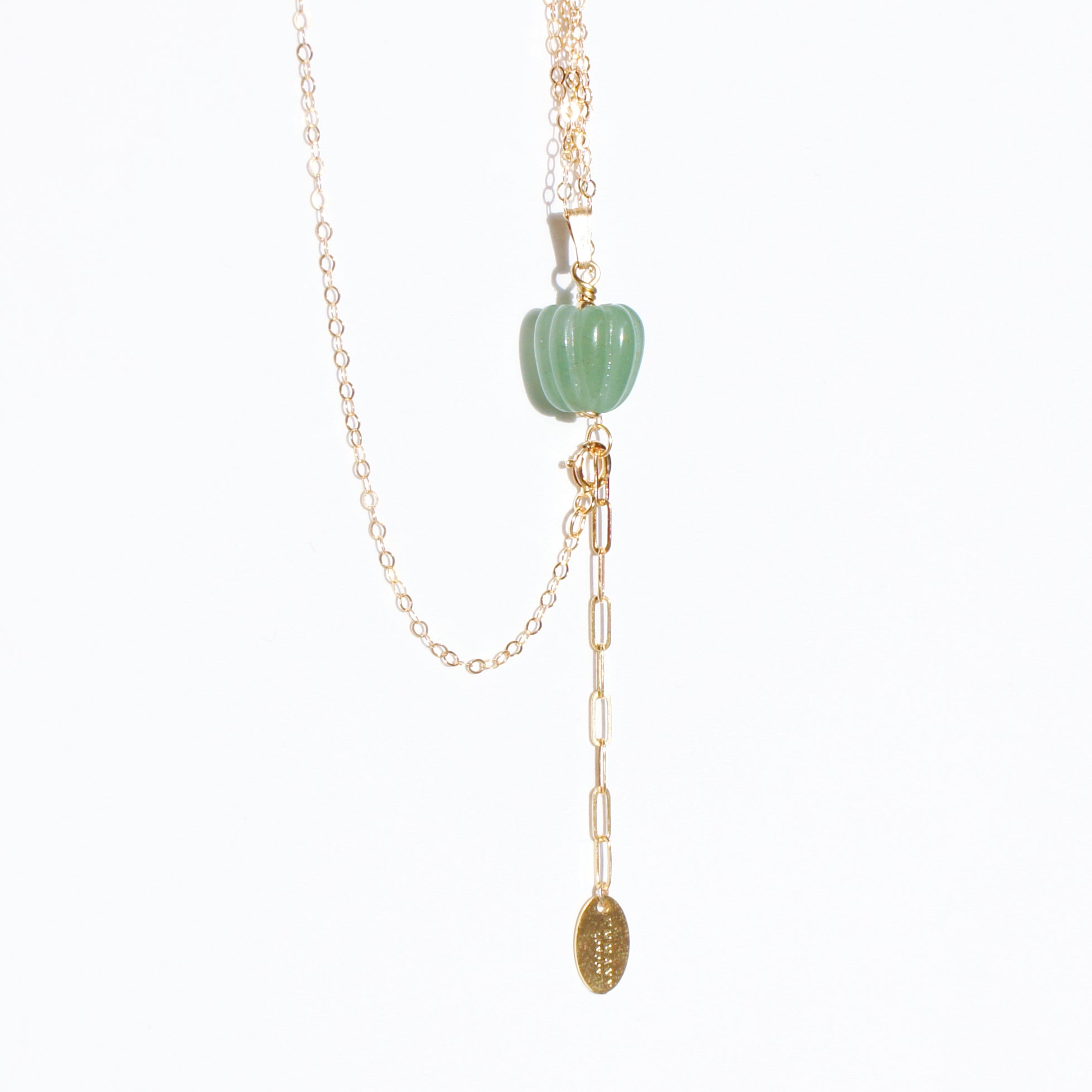 Natural Jade Bell Pepper 18K Gold-filled Necklace
