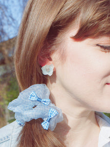 *REAL FLOWER* Libelle Layered Hydrangea Flower Stud Earrings