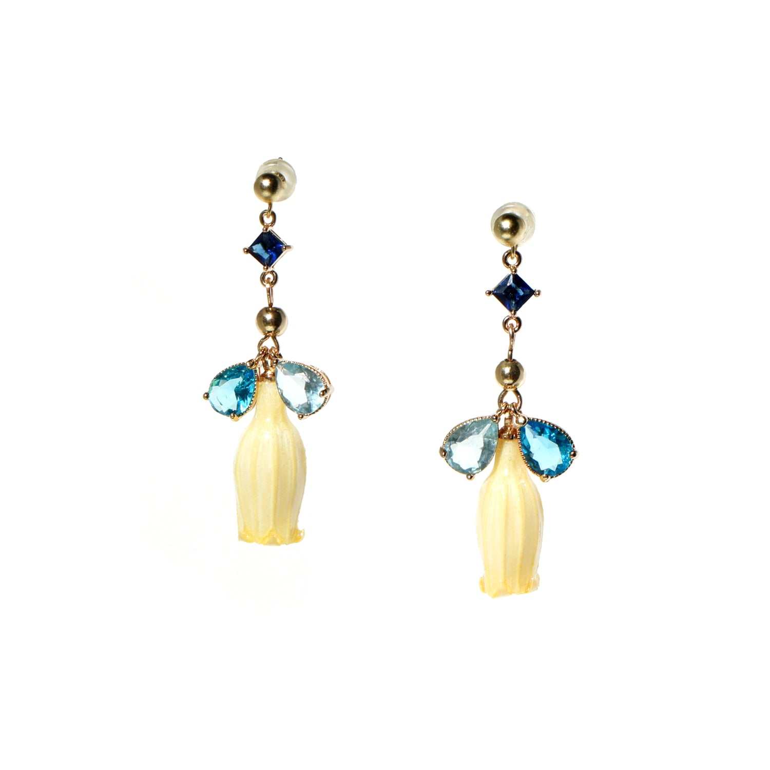 Lilian Lily of the Valley Flower and Crystal Drop Earrings
