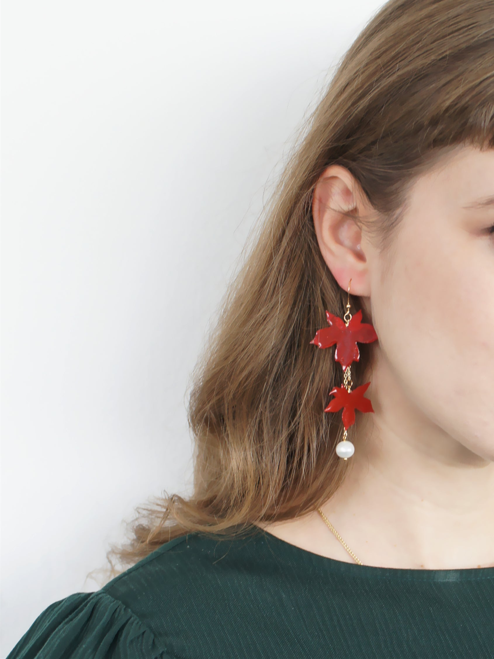 *REAL LEAVES* Be-leaf Red Maple Leaves and Freshwater Pearl Drop Asymmetrical Earrings