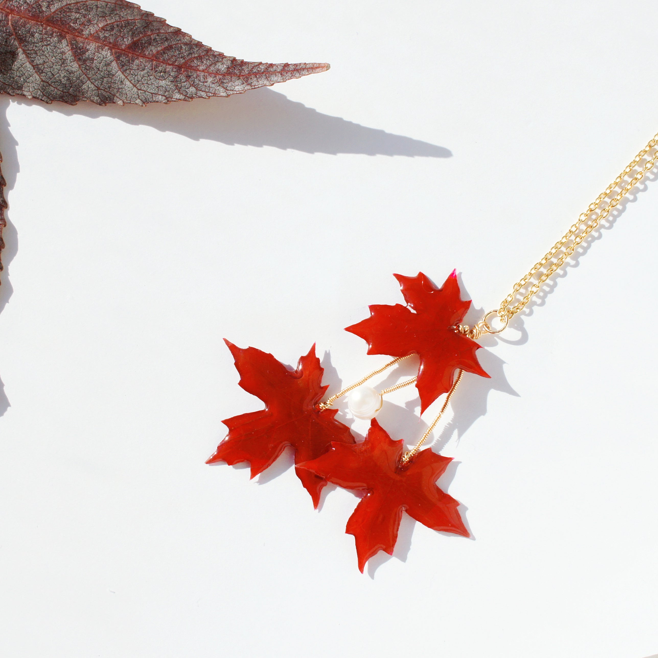 *REAL LEAVES* Be-leaf Red Maple Leaves and Freshwater Pearl Necklace