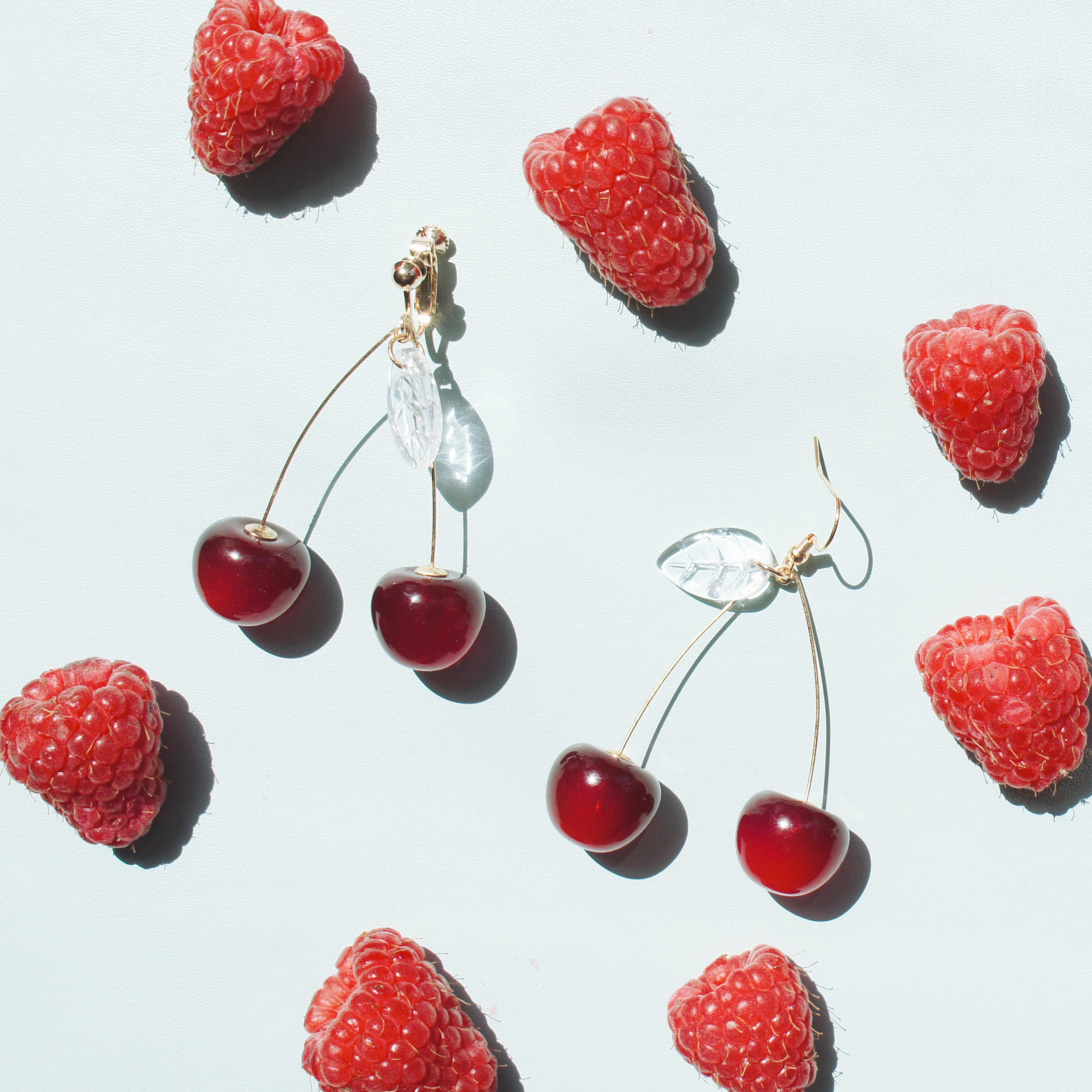 Double Cherry with Leaf Drop Earring (hook/clip-on)