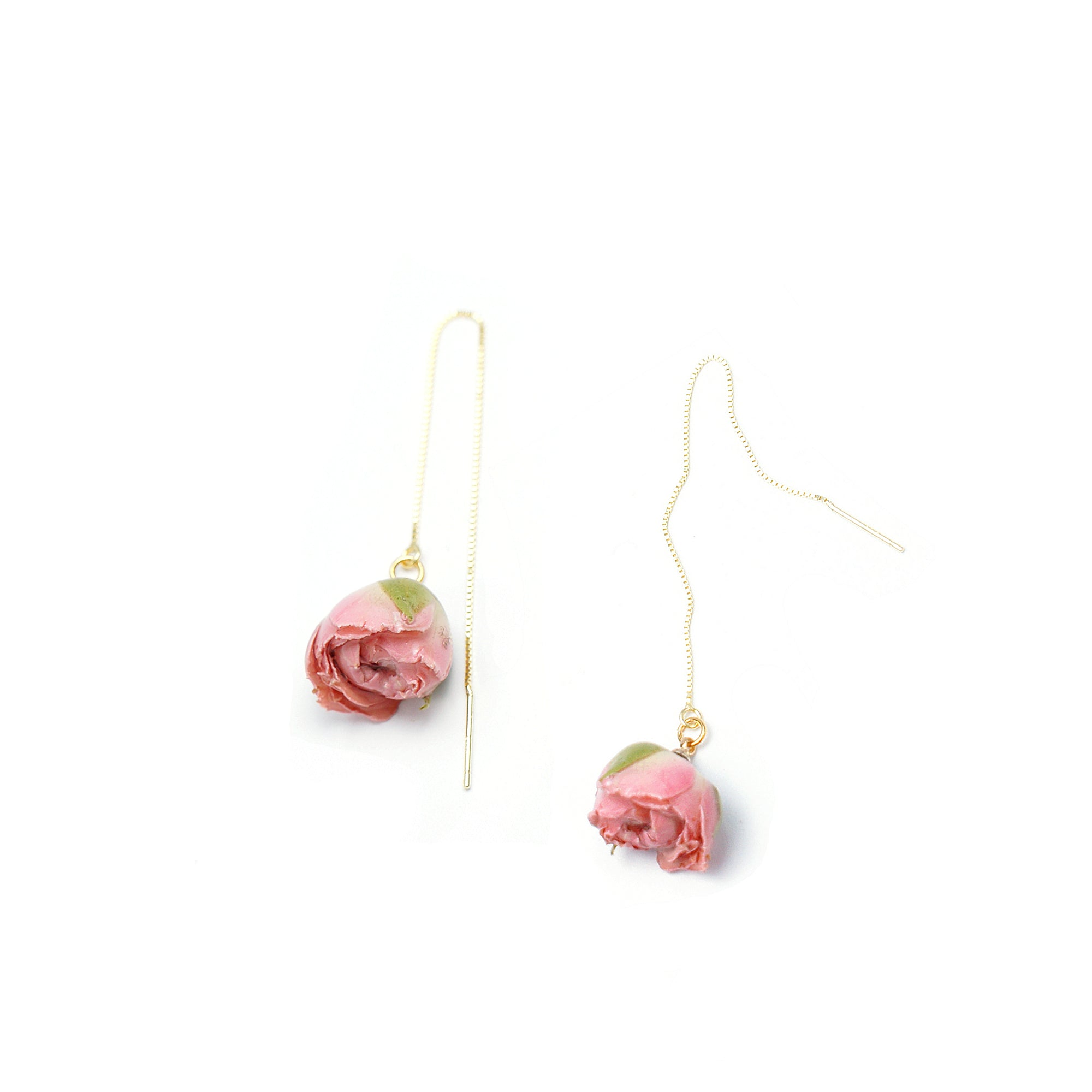 *REAL FLOWER* Bella Rosa Pink Rosebud 18k Gold Vermeil Threader Earrings