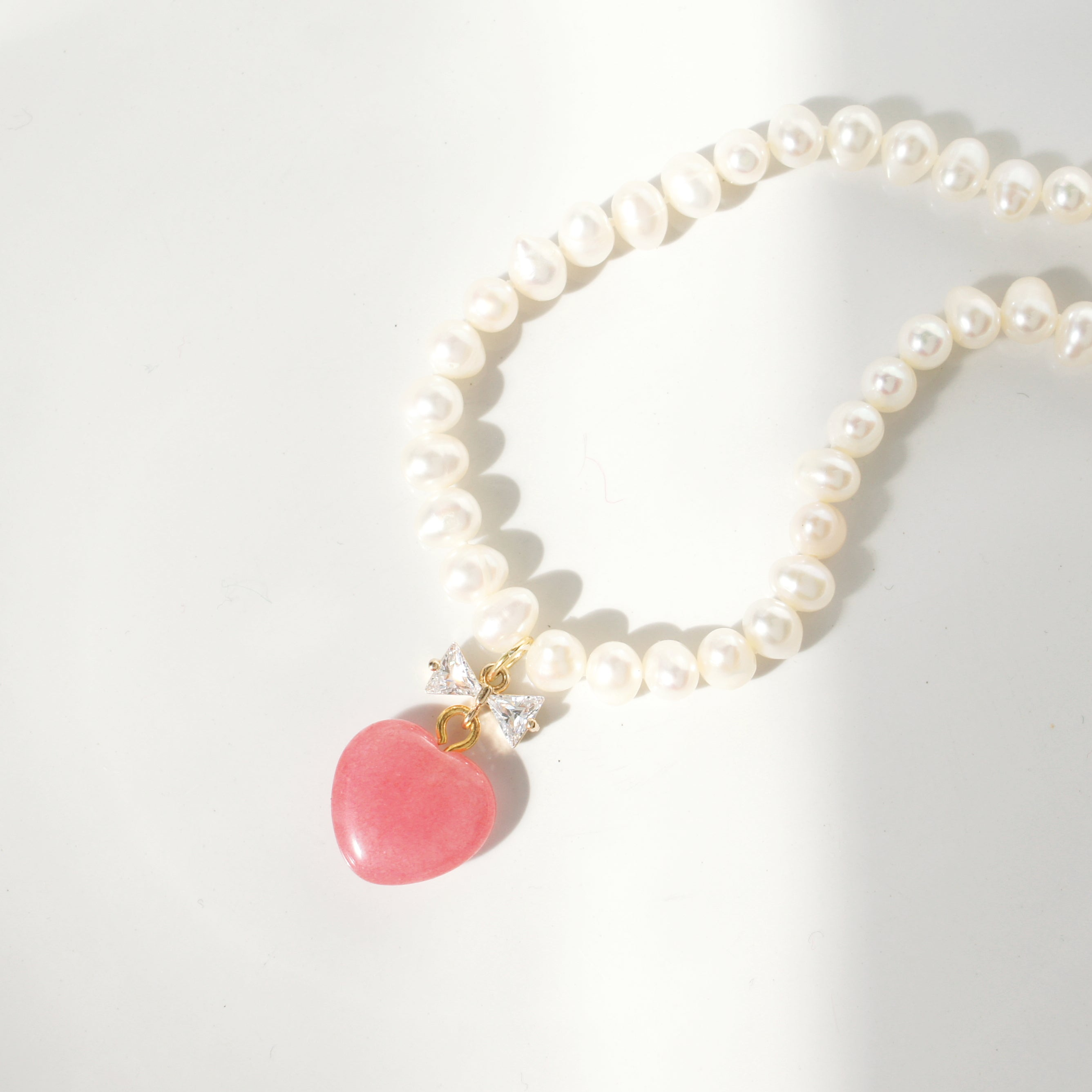 Pink Sugar Freshwater Pearl Collar Necklace with Rose Quartz Heart Pendant