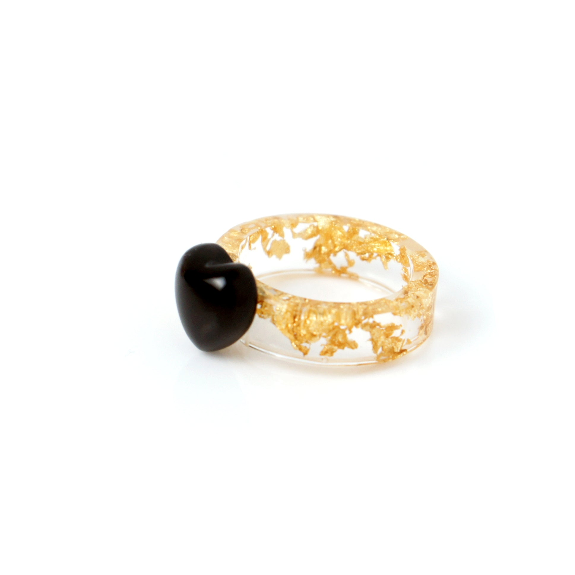 Kind-hearted Gemstone Ring w/Resin Band