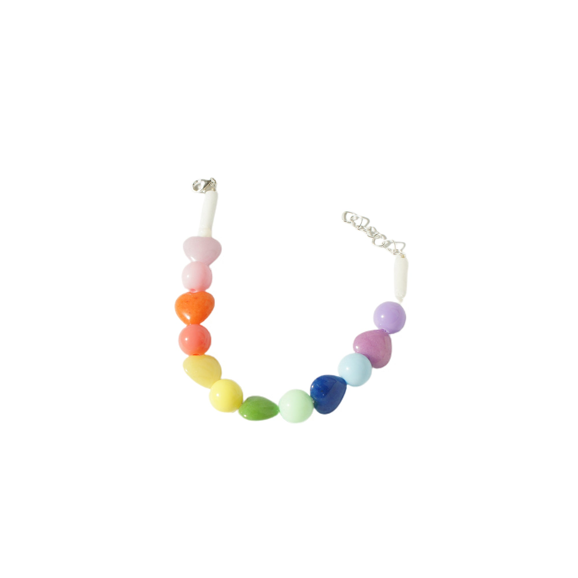 Rainbow Heart Mountain Jade Bracelet