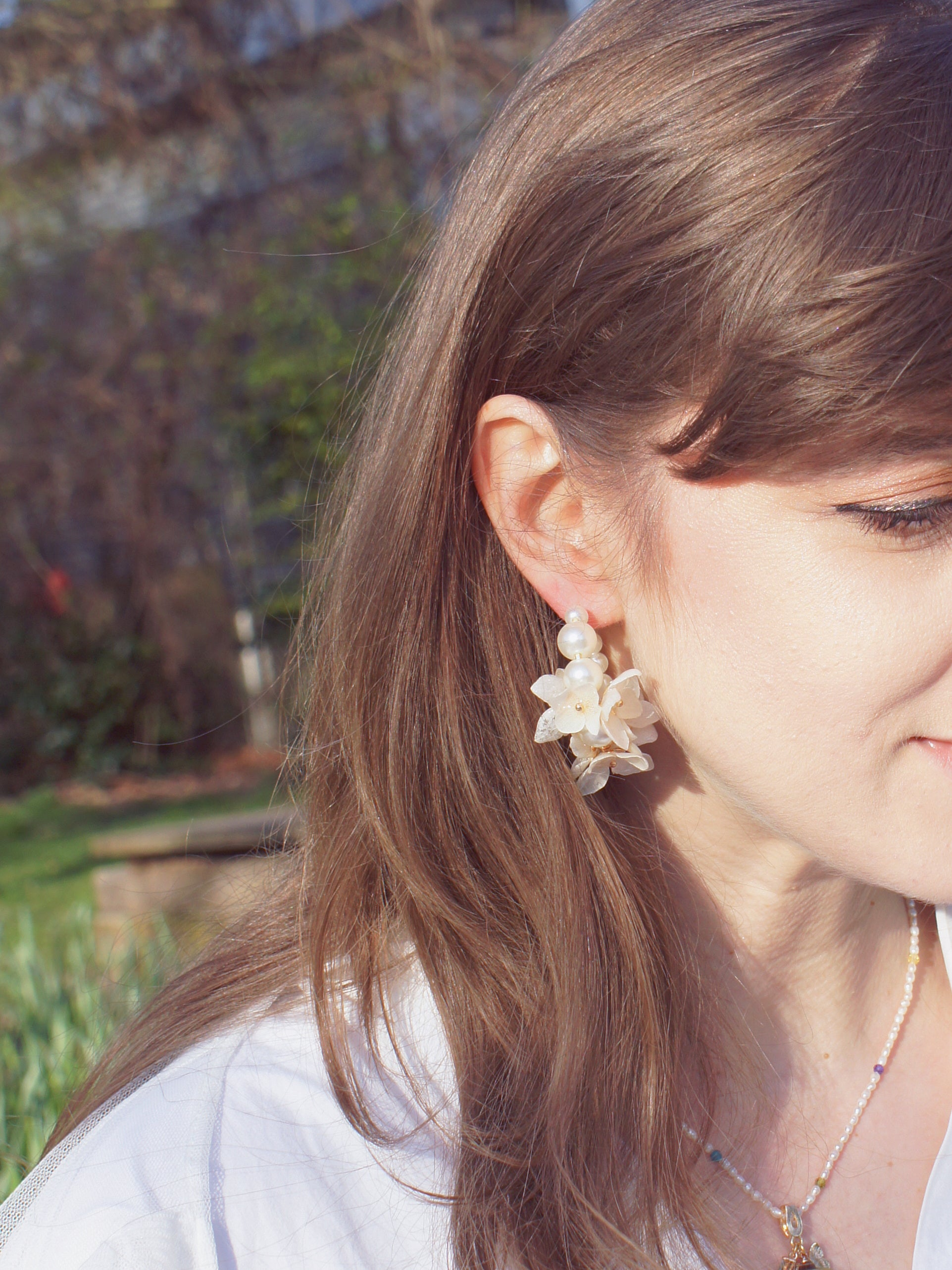 *REAL FLOWER* Verena Hydrangea Flower and Pearl Hoop Earrings