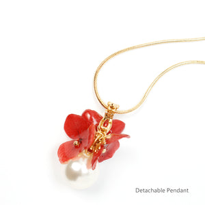 *REAL FLOWER* Mariesii Red Hydrangea and Pearl Necklace