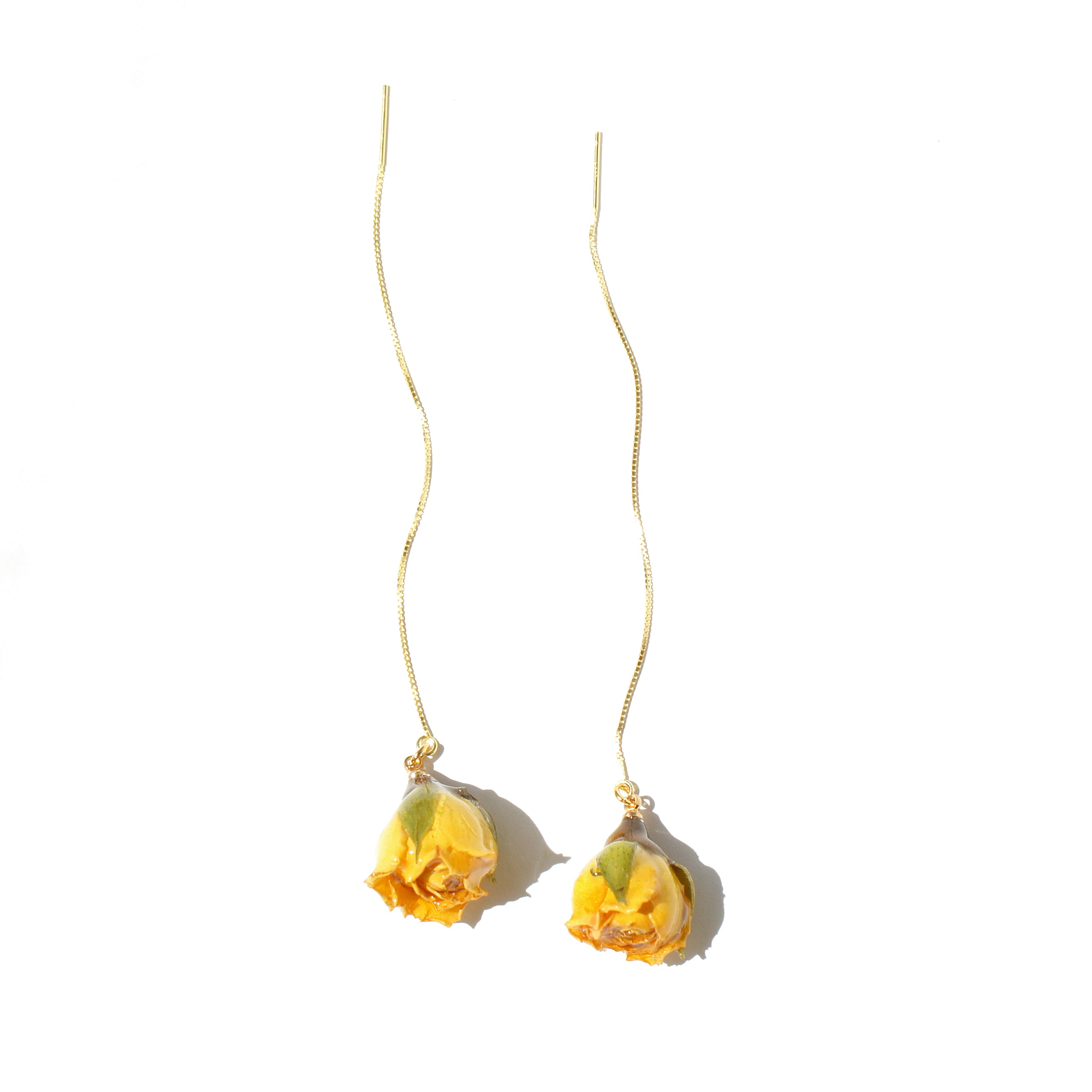 *REAL FLOWER* Rosa Korresia Yellow Rosebud 18K Gold Vermeil Threader Earrings
