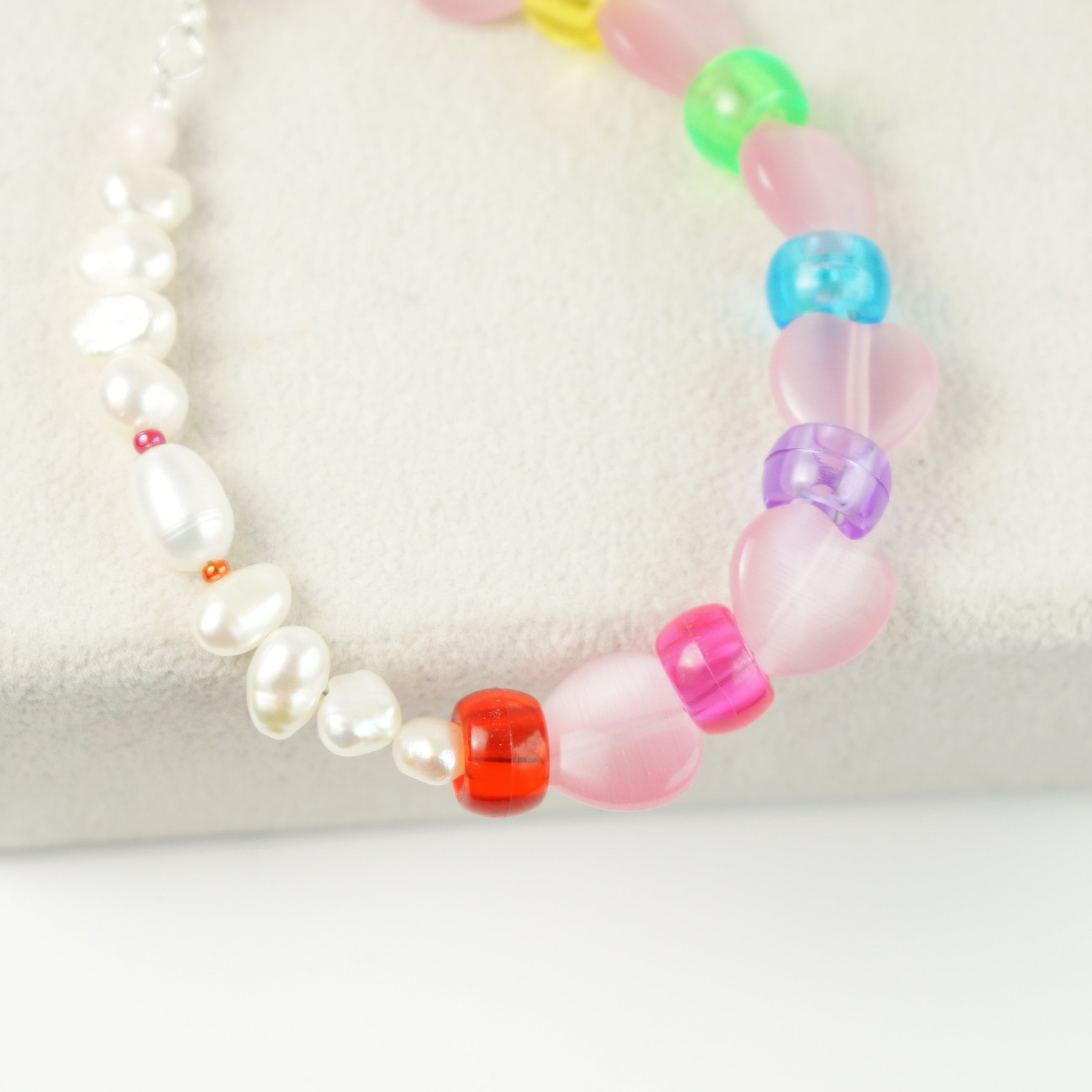 Rini Cats Eye Heart and Freshwater Pearl Rainbow Bracelet