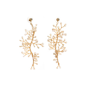 Soft Rime Freshwater Pearl-embellished Branch Drop Earring
