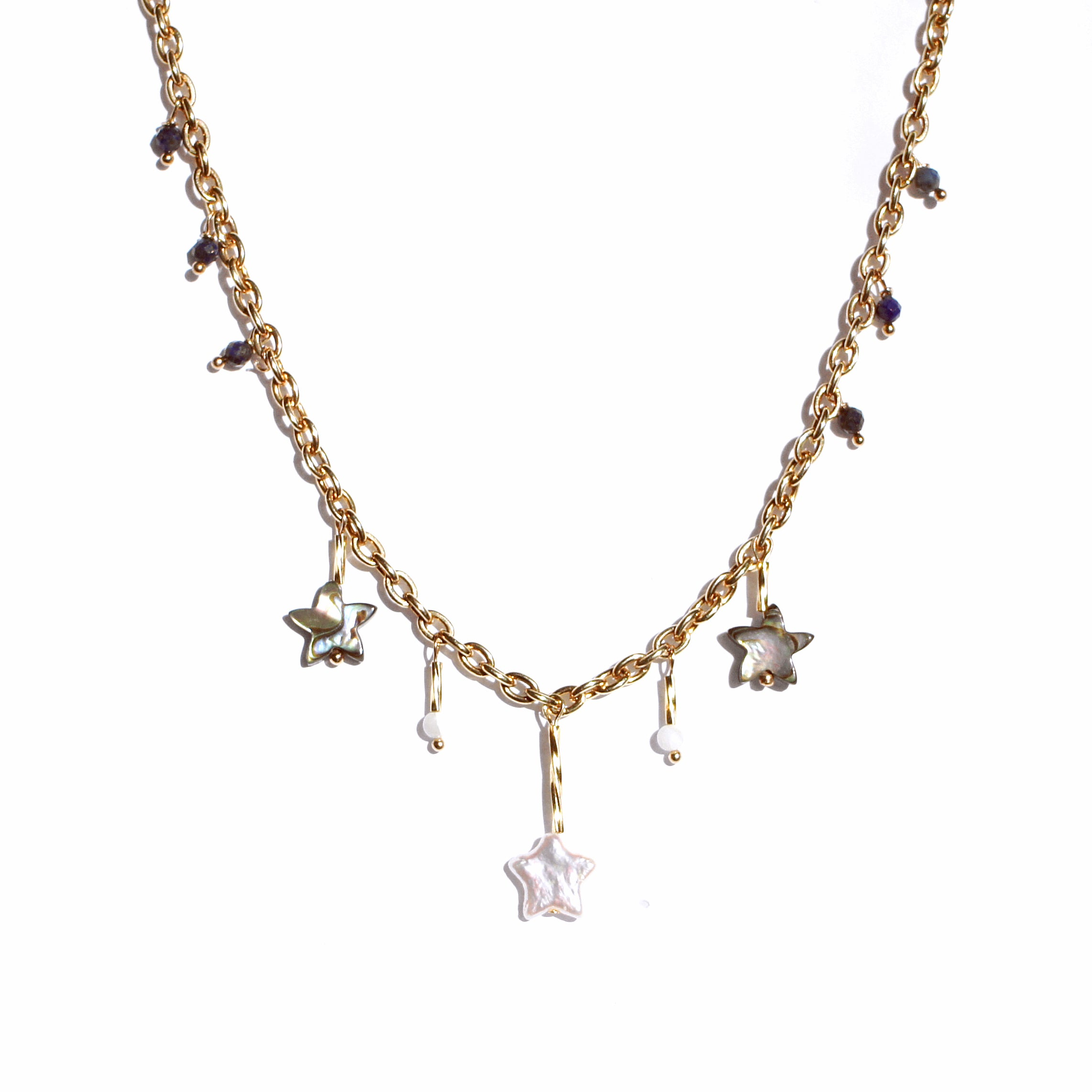 Galaxia Chain Necklace with Stars, Mother of Pearl and Freshwater Pearl